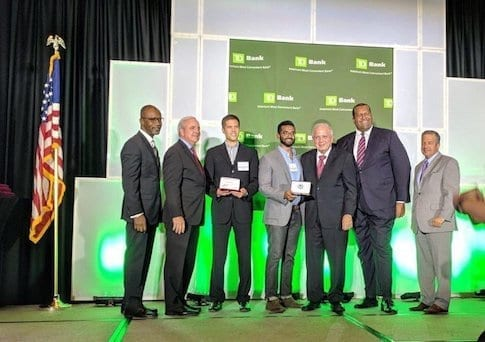 From Left to right: Michael Finney Beacon Council CEO, Carlos Gimenez Mayor of Miami-Dade, Luc Castera Founder of Octopi, Miles Varghese Head of Sales for Octopi, Tomas Regalado City of Miami Mayor, Jaret Davis ex-Chair of Beacon Council...